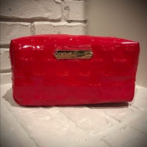 Betsey Johnson Red Patent Bow Cosmetic Bag